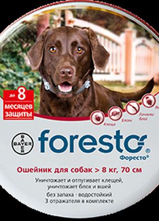 Bayer Foresto ошейник против блох и клещей для собак, 70 см