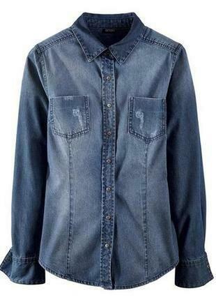 Стильная женская джинсовая рубашка esmara германия