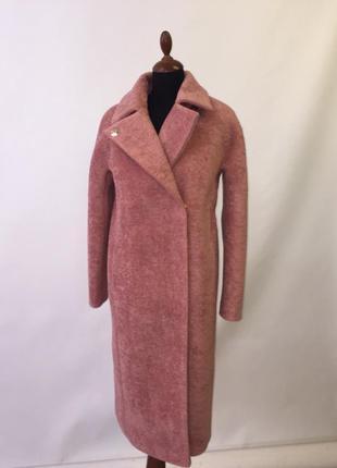 Шикарная женская зимняя длинная розовая искусственная шуба пал...