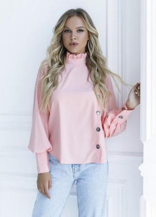 Розовая блуза с вставкой и рюшами белая цвета размеры фабрика ...