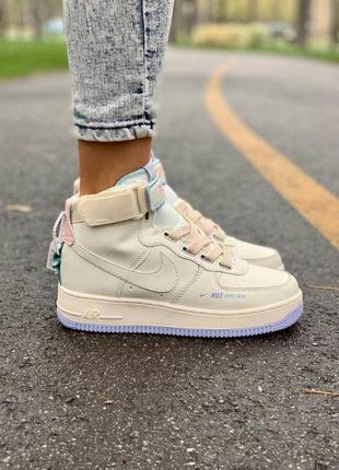 Nike af 1 utility cream high🍏 стильные женские кроссовки найк