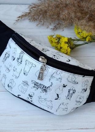 Сумка-бананка c котами , поясная сумка 67, сумка бананка з кіш...