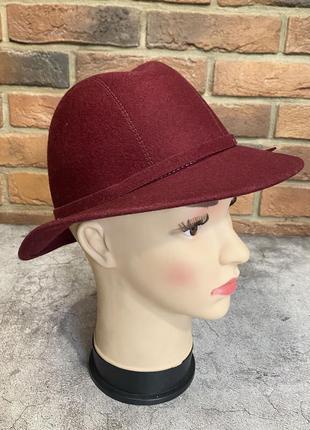 Шляпа фетровая, бордовая