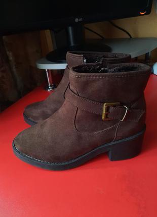 1+1=3 теплые замшевые ботинки на меху 23.5
