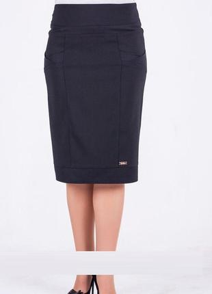 Женская юбка за колено черного цвета, код 1559м