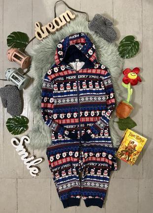 Теплая трикотажная пижама кигуруми слип на байке №53