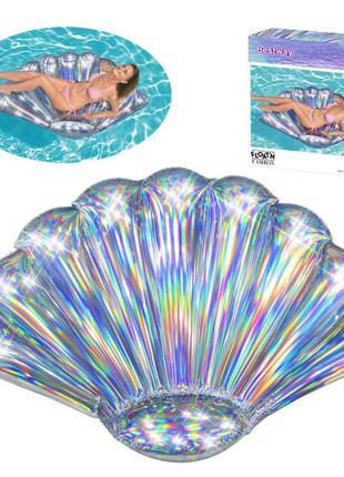Плотик надувной для плаванья  BESTWAY 185-114см. РАДУЖНАЯ РАКУШКА