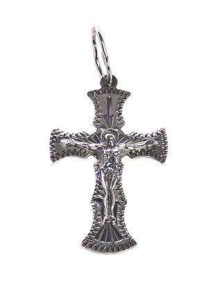Крестик из серебра без накладки с чернением