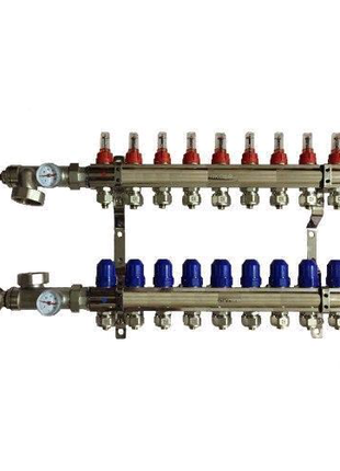Коллектор для теплого пола на 9 контуров в сборе (KOER)