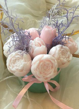 Букет из мыла, пионы, тюльпаны, мыльный букет, подарок девушке