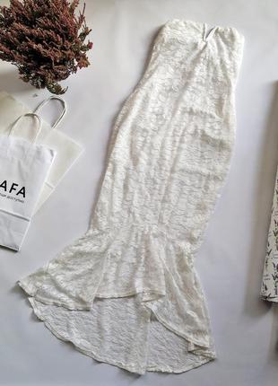 Белое кружевное свадебное платье рыбка/русалка без рукавов бюс...