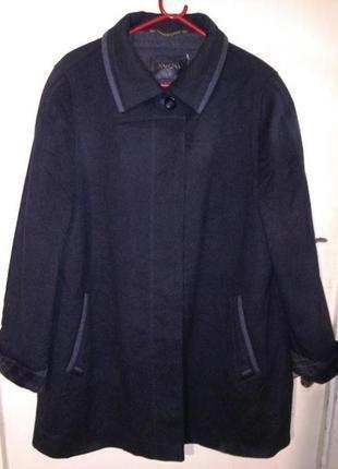 Шерсть-75%,5% кашемир,элегантное,тёплое,тёмно-серое пальто,бол...