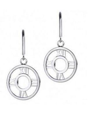 🏵️стильные серьги римкие цифры-часы в серебре 925, новые! арт....