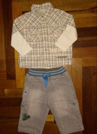 ☃️ акция 🔥 1+1=3 комплект стильная рубашка джинсы утеплённые 9...