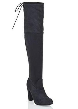 Черные замшевые высокие деми сапоги ботфорты за колено на высо...