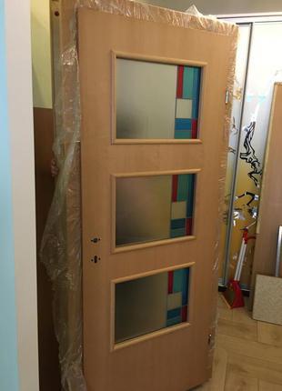 Дверь с витражами, полный комплект 80х2,02 см, новая, немецкая