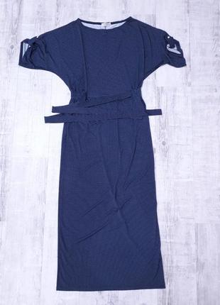 Женское длинное платье в горошек