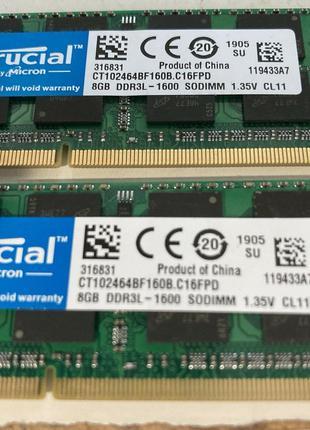DDR3L-1600 Crucial sodimm 16gb (2*8)