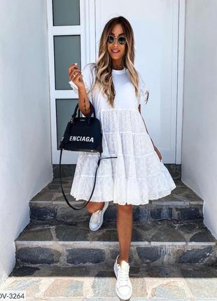 Платье свободного стиля с воланами, прошва. 42-58р