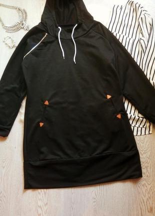 Черное спортивное платье короткое миди стрейч худи с капюшоном...