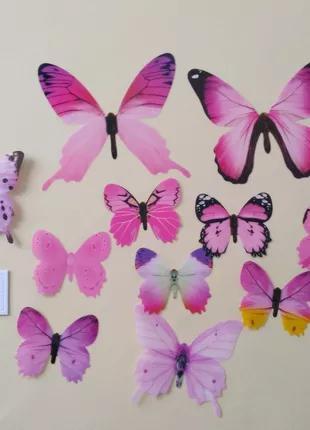 Бабочки 12 шт декор на холодильник