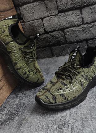 Чёрно-зеленые мужские кроссовки