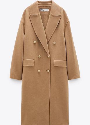 Новое бежевое рыжее коричневое двубортное шерстяное пальто zar...