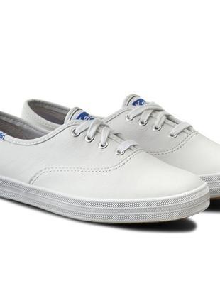 Белые кожаные кеды keds