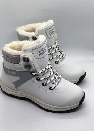 Белые ботинки, зимние кроссовки с мехом