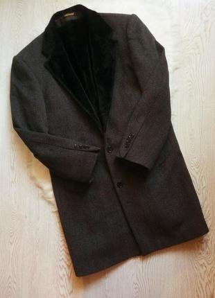 Серое черное зимнее теплое длинное мужское пальто шерстяное с ...