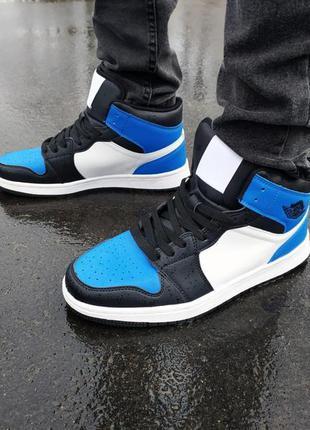 Мужские кроссовки в стиле jordan retro бело-синие