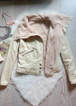 Белая кожанка косуха куртка на меху с мехом короткая кожзам бе...