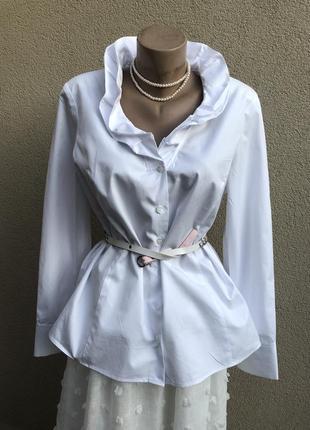 Белая рубашка,блуза,офисная,жабо,рюши,хлопок,большой размер