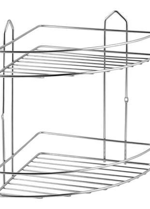 Хромированная полочка для ванной комнаты угловая 2-х ярусная SW 2