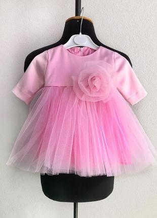Розовое платье для девочки на годик