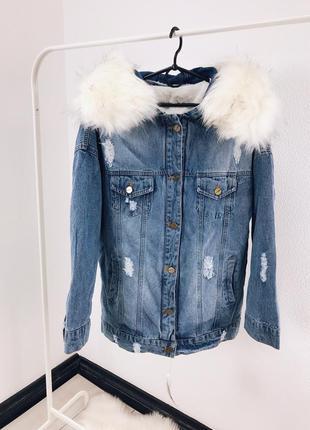 Женская джинсовая куртка с мехом