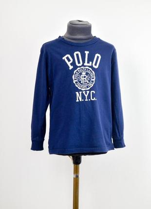 Polo ralph lauren темно-синий лонгслив с логотипом, футболка с...