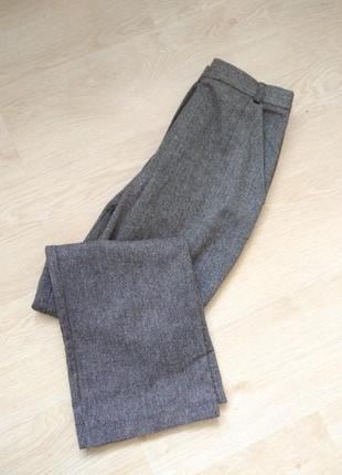 Шерстяные брюки высокая посадка талия принт