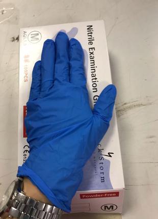 перчатки нитриловые синие размер М. нитрил, нитрилекс, медиком