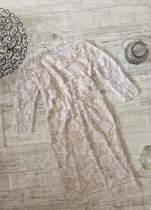 Платье пудровое нежное гипюр