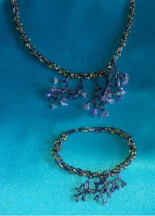 Ожерелье + браслет из бисера,  камнь.