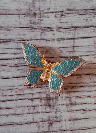 Шикарная винтажная брошь бабочка