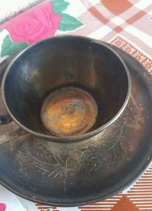 Кофейная чашка с блюдцем серебро
