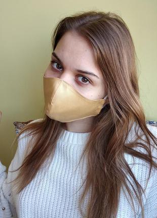 Женская маска с сатина цвета золото