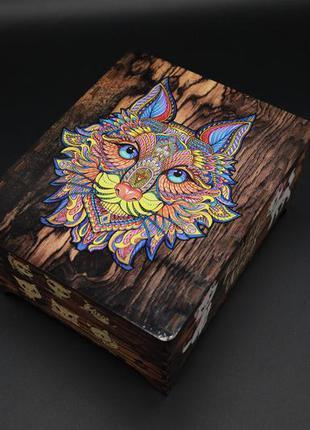 Пазл из фанеры. кошка. розмір 450х310мм. 190 елементів