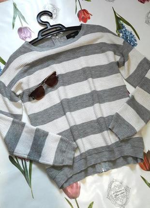 Стильный полосатый оверсайз джемпер свитер с молнией на спине ...