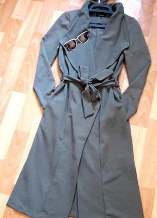 Классный кардиган пальто миди на запах цвета хаки new look
