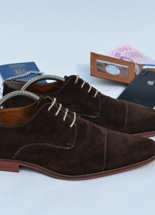 Мужские оксфорды коричневые замшевые туфли кожаные на осень ра...