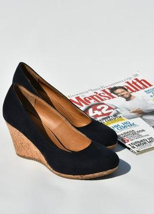 Женские туфли на танкетке кожаные замшевые синие элегантные кл...