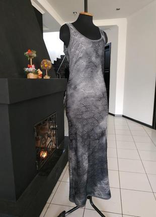 Платье - майка сетка макси в пол длинное принт абстракция
